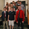 Students who ran for positions in this year's Student Council for Newtown Middle School stood together on Friday, October 7, after giving their campaign speeches before the whole student body.  (Hallabeck photo)