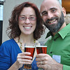 Alicia and Renato Ghio, who produce the web show The Natural Princess and write the Lo-cal Food Rocks blog, were all smiles  over the selection of local and regional foods highlighted at the Maplewood at Newtown Farm to Table reception, Wednesday, October 5.  (Crevier photo)