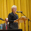 Pat Llodra notes her accomplishments and goals as the current first selectman of Newtown, during her opening remarks at the Newtown Bee Debate Tuesday evening, October 18. (Bobowick photo)