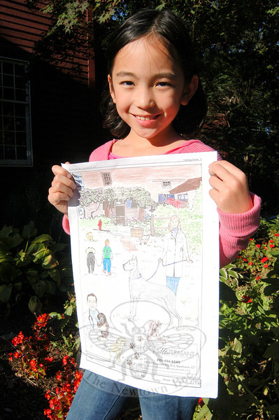 Norah Kolb, 7, won in her age category of The Newtown Bee's Special Fall Coloring Contest.  (Hallabeck photo)