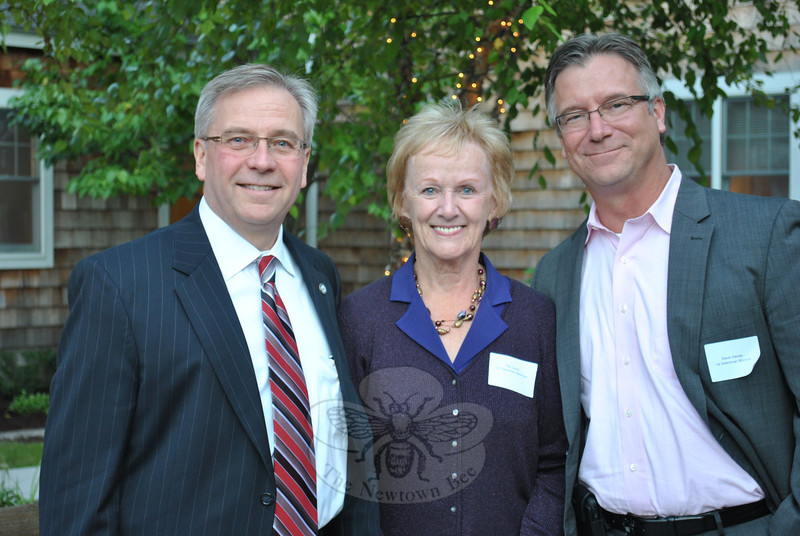 Newtown First Selectman Pat Llodra, center, is flanked by Bethel First Selectman Matthew S. Knickerbocker, left, and Monroe First Selectman Stephen J. Vavrek, at the Farm to Table reception, October 5, at Maplewood at Newtown. The Farm to Table initiative, says Mrs Llodra, shows forward thinking on the part of Maplewood leaders.  (Crevier photo)
