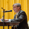 """William Furrier, candidate for first selectman, outlines for the audience Tuesday evening a """"track, score, and report"""" concept that he plans to implement if elected, a process he feels voters can better understand and appreciate. (Bobowick photo)"""