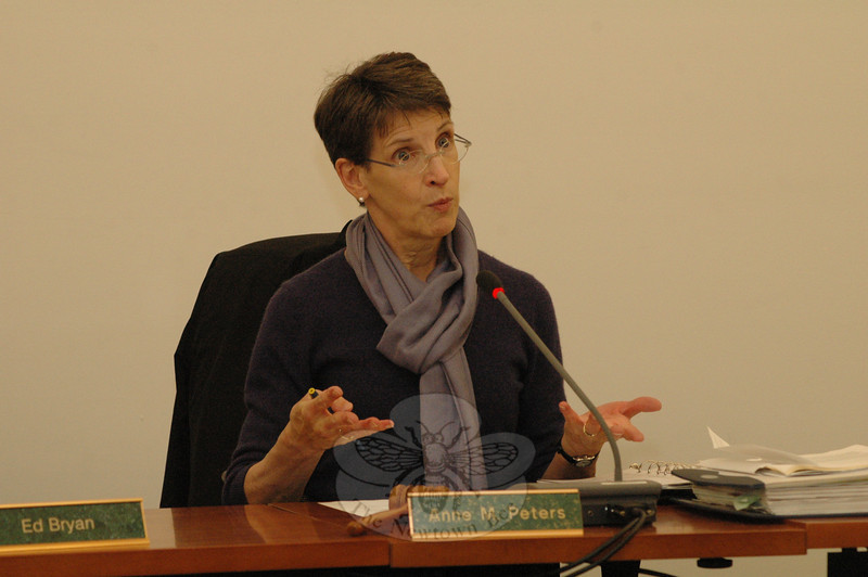 Inland Wetlands Commission (IWC) Chairman Anne Peters presided at an October 26 IWC session at which the agency approved a wetlands/watercourses protection permit for a developer's plans to construct a 178-unit age-restricted condominium complex in Hawleyville.  (Gorosko photo)