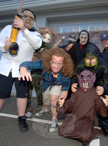 Monsters, demon, zombies, and ghouls terrorized guests Saturday, October 22, during a haunted house and Halloween party hosted by the Newtown Police Explorers at The Garage teen center.  (Bobowick photo)