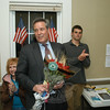 James O. Gaston, Sr, speaks on election night at Democratic Party campaign headquarters at 33 Main Street after a tally of the votes showed that he had been elected as a selectman. Standing behind him and to the right is James O. Gaston, Jr, Mr Gaston's son, who was elected to the Board of Finance.  (Gorosko photo)