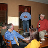 Independent Party of Newtown first selectman candidate William Furrier (standing at left) spoke before members of his party assembled at My Place Pizza & Restaurant on Tuesday, November 8, after it became clear from unofficial voting numbers that incumbent Republican First Selectman Pat Llodra had secured her second term in office.  (Hallabeck photo)