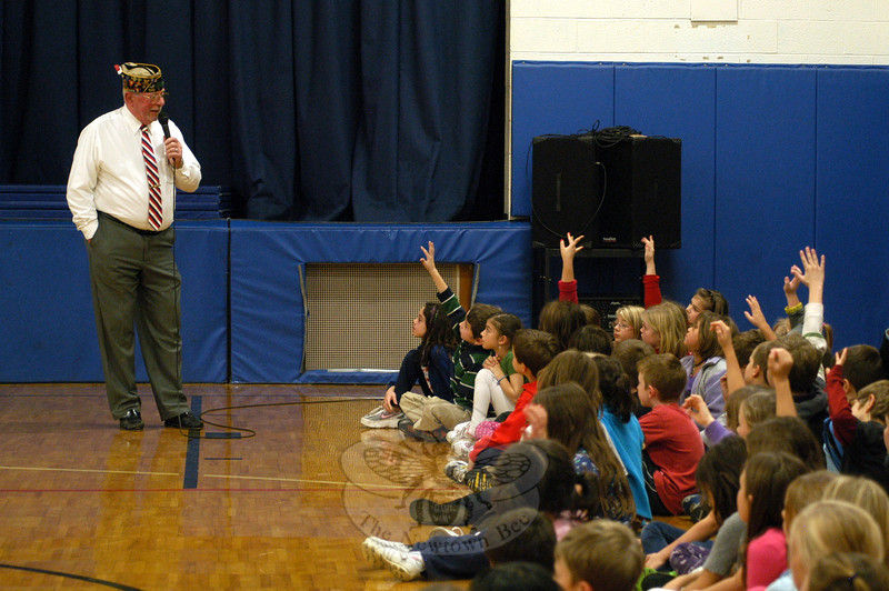 Navy veteran and Bethel resident Skip Clapp spoke to Middle Gate Elementary School students on Friday, November 11, during an assembly for Veterans Day.  (Hallabeck photo)