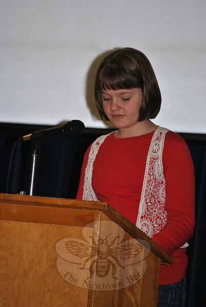 Virginia Hepp, during the 2011 Veterans Day ceremonies at Hawley School.  (Crevier photo)