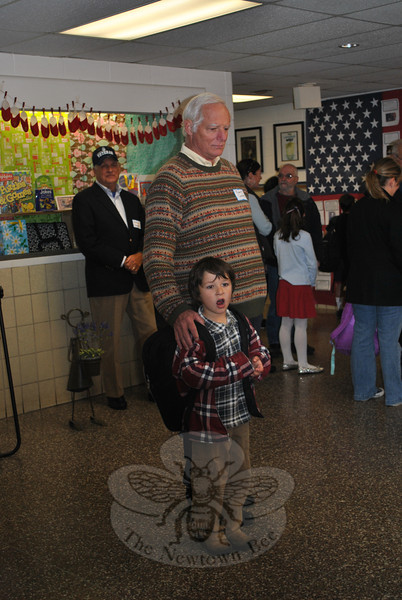 Bob Comfort and his grandson Jesse Lewis on Veterans Day 2011 at Sandy Hook School.  (Crevier photo)