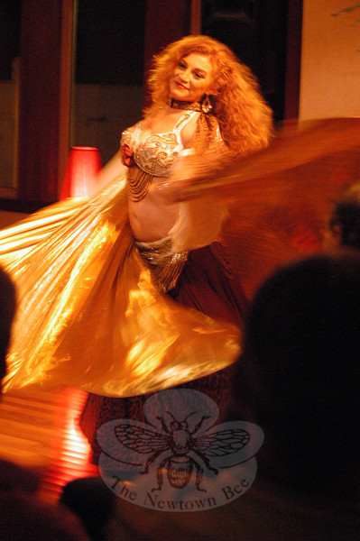 "Adina, shown here, and her belly dancing entourage Rakshanda Rya provided entertainment for Congregation Adath Israel's ""Mediterranean Magic"" event held on Saturday, November 12.  (Hallabeck photo)"