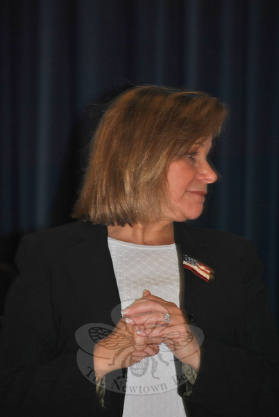 Hawley School Principal Joann Peters, during 2011 Veterans Day ceremonies at the school.  (Crevier photo)