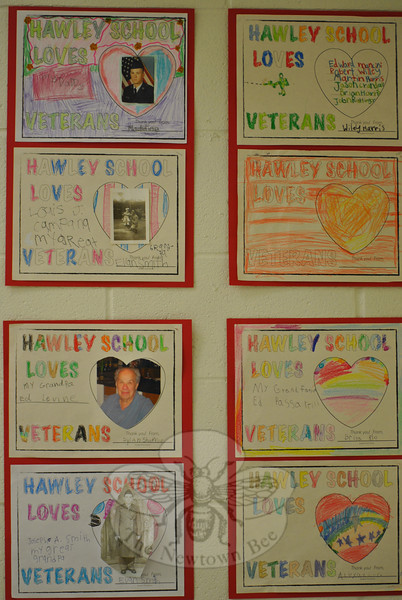 2011 Veterans Day ceremonies at Hawley School included many handmade signs and posters by students.  (Crevier photo)