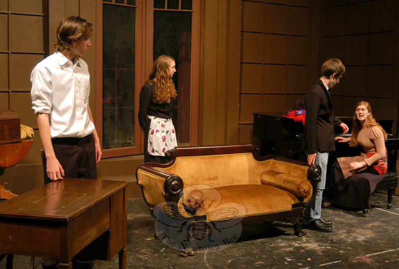 Newtown High School Drama Club members, from left, Thomas Primavera, Nora Murphy, Josh Goldman, and Alexandra Ang rehearsed on Tuesday, November 15, for this weekend's production of George Bernard Shaw's Pygmalion.  (Hallabeck photo)