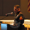 Marine Corporal and Bethel resident Daniel Gaita spoke during a Veterans Day assembly at Newtown High School.	 (Hallabeck photo)