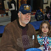 Ed Paradis and his granddaughter, Camille Paradis, on Veterans Day 2011 at Sandy Hook School.  (Crevier photo)