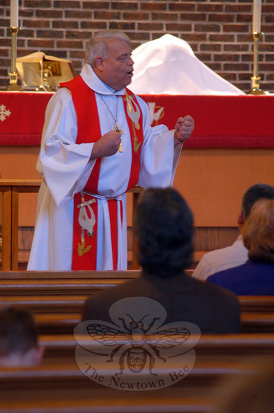 Reverend James Keurulainen, New England district president, gave the sermon on Sunday, November 13, for Christ The King Lutheran Church's 50th anniversary celebration service.    (Hallabeck photo)