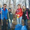 These workers were among the several dozen people who performed a fall cleanup project at a large yard on Horseshoe Ridge Road on November 19. The regional project is sponsored by the Brookfield-based Handy Dandy Handyman Ministry. Shown, from left, are Joyce Kuhn, and Kyle, Jenn, and Haley Birdseye.  (Gorosko photo)
