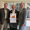 The Rotary Club of Newtown is collecting fixings for and getting ready to serve pancake breakfasts to early birds and latecomers alike on Saturday, December 3. The 51st Pancake Day will be conducted once again at Edmond Town Hall. Recently standing just outside the kitchen of The Alexandria Room, where thousands of flapjacks will be cooked up, were Ro-tary President Pat Caruso, Pancake Breakfast Chairman John Trentacosta, and Rotary Club member and past president Bill Calderara.  (Hicks photo)