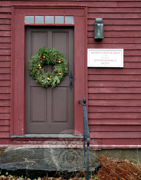 The front door of The Matthew Curtiss House will be opened at noon on Sunday, December 4, when Newtown Historical Society hosts its annual Holiday Open House.  (Hicks photo)