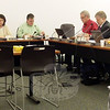 The newly seated Board of Education, following nominations and elections of new board positions on Tuesday, December 7, from left, were Chair Debbie Leidlein, Vice Chair Laura Roche, Secretary Cody McCubbin, and members Richard Gaines, William Hart, Keith Alexander, and John Vouros.  (Hallabeck photo)