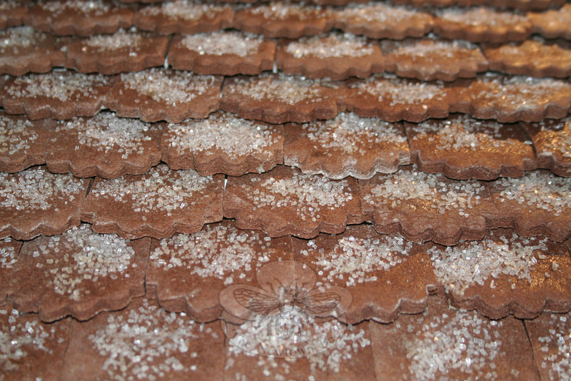 Detail of some of the chocolate sugar cookies used for the roof of Sugar Cookie Sheffield Island.  (Hicks photo)