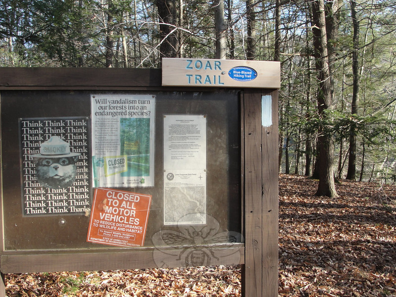 A study by the University of Connecticut's Center for Economic Analysis has shown that the state's parks and forests are far from economically passive places. The study estimates that they account for at least $1.25 billion a year in economic activity. Shown here is a trailhead in Lower Paugussett State Forest in Newtown.  (Bobowick photo)