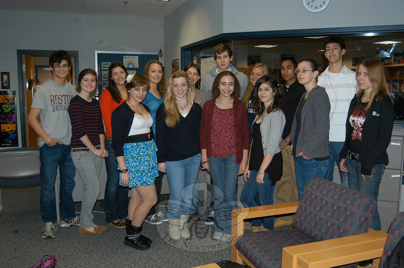 Newtown High School students who received the National Merit Commended Students recognition for performing well on the SAT in 2009 were honored on Tuesday, November 9, by Principal Charles Dumais and members of the guidance office with certificates reflecting their accomplishments. Two students, Justin Villamil and Danielle Villa, were also acknowledged for receiving the College Board's National Hispanic Recognition. Danielle and Justin stand above with National Merit Commended Students Kaitlin Brophy, Gregory Campbell, Melissa Charles, Natalie Dunn, Erica Green, Alexandra Henriques, Eliana Kohrman-Glaser, Abigail Lee, Abigail Malin, Mark McLoughlin, Jane Moran, Kyra Smith, and Ishan Tatake.  (Hallabeck photo)