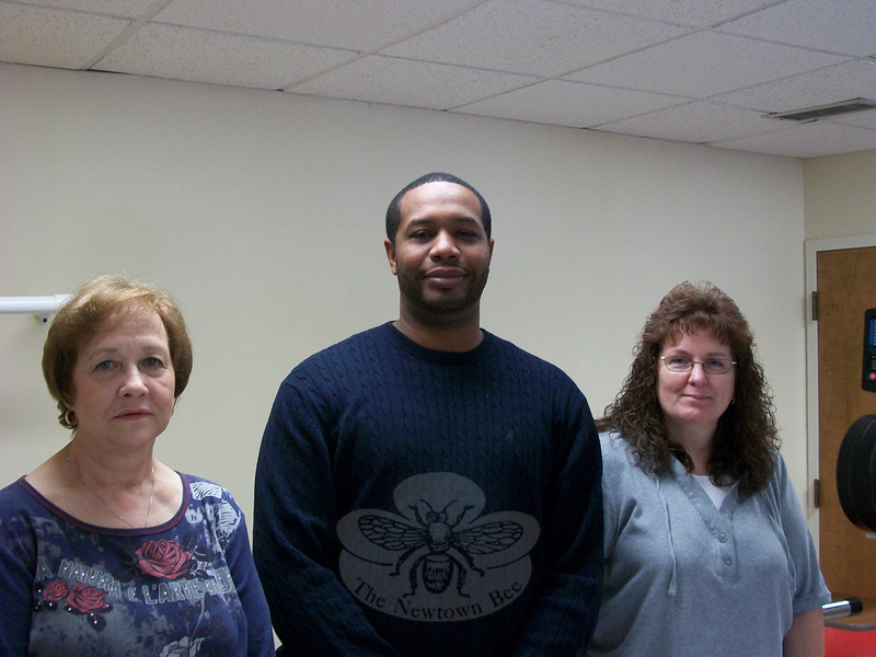 Left, Newtowner Rose Marie Abric and Monroe resident Sherry Partridge flank Jhasson Brooks, who heads up Masonicare of Newtown's Rehabilitation Services department. Both women received in-patient and out-patient services through the local Masonicare facility, which partners with Rehabilitation Associates of Fairfield County.  (Voket photo)