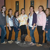 Newtown Middle School eighth grade students, from left, Caitlin Jones, Rebecca Oberstadt, Katelyn Zimmerman, Hannah Fitzgerald, Jesse Saler, Abby Callery, Kenzie Casey, Hannah Booth, and Megan Milano, stood together as the creators for the top three winning scarecrows in the 2010 NMS Scarecrow Contest.  (Hallabeck photo)