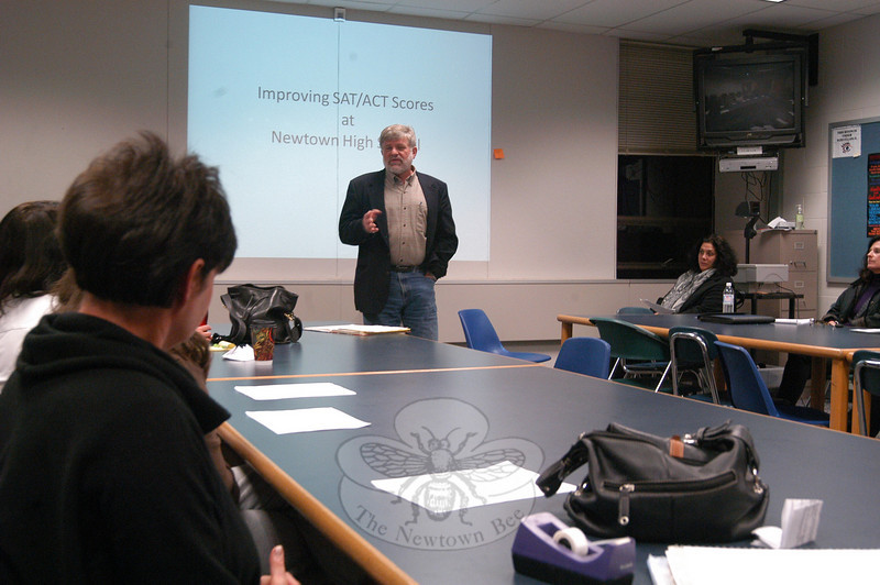 Board of Education Chair William Hart spoke at the Newtown High School PTSA meeting on Monday, November 8, on improving the school district's SAT and ACT scores.  (Hallabeck photo)