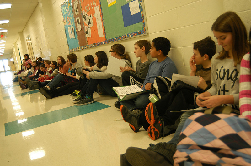 Reed Intermediate School sixth grade students lined up in a hallway on Tuesday, January 3, for the chance to audition for this year's school production of Disney's Beauty and the Beast Jr, set to be performed on May 18 and 19.  —Bee Photo, Hallabeck