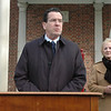 On December 30 at Fairfield Hills, Governor Dannel P. Malloy announced that the state has awarded the town a $400,000 grant for improvements at the Fairfield Hills campus. First Selectman Pat Llodra looked on as the governor made the announcement before a group of about 40 people. The money is provided through the Small Town Economic Assistance Program (STEAP) grant project. —Bee Photo, Gorosko