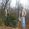 Bethel Land Trust Treasurer John O'Neill, left, walks Bethel's Franc property with Newtown Forest Association (NFA) President Robert Eckenrode. The 70-plus acres of Bethel land abuts NFA's Brunot Preserve, doubling the open space between the two towns. —Bee Photo, Bobowick