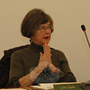 Planning and Zoning Commission (P&Z) Chairman Lilla Dean discusses the ongoing update of the 2004 Town Plan of Conservation and Development at a February 2 P&Z session. The panel is reviewing the population trends and community character aspects of the town plan. —Bee Photo, Gorosko