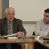 Police Commission Chairman Paul Mangiafico, left, makes a point as commission member James Viadero listens on February 7 while panel members discussed at length Queen Street traffic hazards posed by speeding motorists.  —Bee Photo, Gorosko