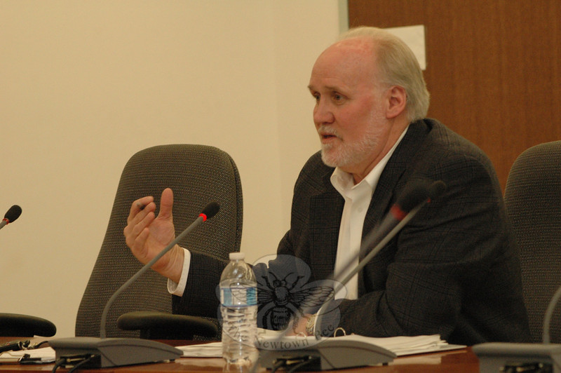 George Benson, director of planning and land use, speaks at a February 2 Planning and Zoning Commission (P&Z) meeting. The P&Z is reviewing the population trends and community character sections of the town plan in its ongoing decennial update of the planning document. —Bee Photo, Gorosko