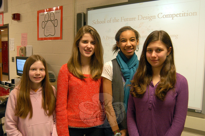 Newtown Middle School eighth grade students, from left, Julia Preszler, Claire Boyle, Haley Williams, and Sophie Kennen. A school of the future, according to these four, would include a roof garden, natural lighting in all classrooms, and a community-minded design.		—Bee Photo, Hallabeck