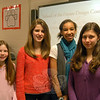 Newtown Middle School eighth grade students, from left, Julia Preszler, Claire Boyle, Haley Williams, and Sophie Kennen. A school of the future, according to these four, would include a roof garden, natural lighting in all classrooms, and a community-minded design.—Bee Photo, Hallabeck