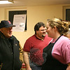 Cleo Conk had time to chat with her grandfather, Billy Fellows, left, toward the end of the 55th Annual Shrove Tuesday Pancake Supper on February 21. Cleo has been a server at the event for much of her life.    —Bee Photo, Hicks
