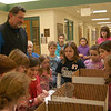 Hawleyville Postmaster Mark Favele visited Hawley Elementary School on Wednesday, February 8, to collect letters and collections to send overseas through the Valentines For Troops effort. —Bee Photo, Hallabeck