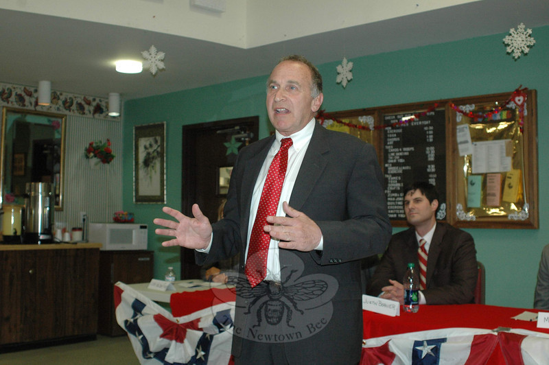 Fifth District GOP contender Mark Greenberg addresses the local Republican Town Committee February 22 during a US Congressional candidates forum at the Newtown Senior Center.  —Bee Photo, Voket