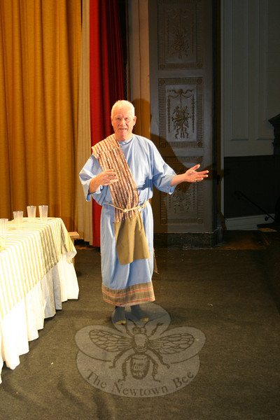 Tary Tarlton filled in as an Apostle on Sunday, February 19, when The Immanuel Lutheran Players did a brief run-through for this year's presentation in Newtown. —Bee Photo, Hicks
