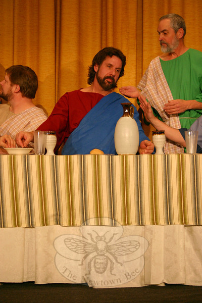 Joel Wardenburg, center, is among the majority of participants returning for The Last Supper Enactment. The Immanuel Lutheran Players are bringing their Lenten offering into Newtown for the first time this year, with two presentations planned for March 4 at Edmond Town Hall Theatre.—Bee Photo, Hicks