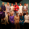 The full cast from Newtown High School's fall production On The Razzle stand together in character before a dress rehearsal on Tuesday, November 16, with production directors Katie McMorran, bottom left, and Megan Preis, bottom right.  (Hallabeck photo)