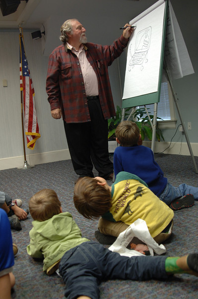 Local illustrator and author Bruce Degen puts on paper the imaginative characters based on his young audience's requests.  (Bobowick photo)