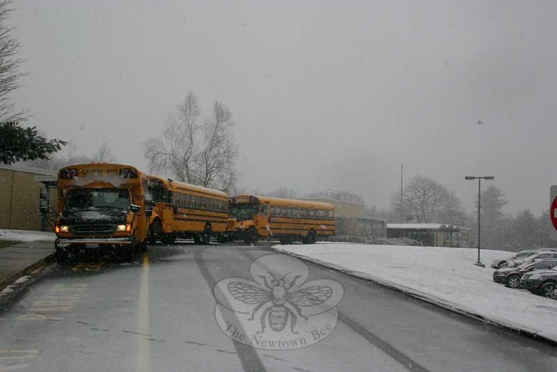 The ground hog may have been right at the beginning of the month: nearly five weeks after Punxsutawney Phil saw his shadow, therefore predicting six more weeks of winter, a late season storm blanketed town on Leap Day. School buses were lined up by 1:30 at Middle Gate School, ready to safely bring students home early Wednesday afternoon.  (Hicks photo)