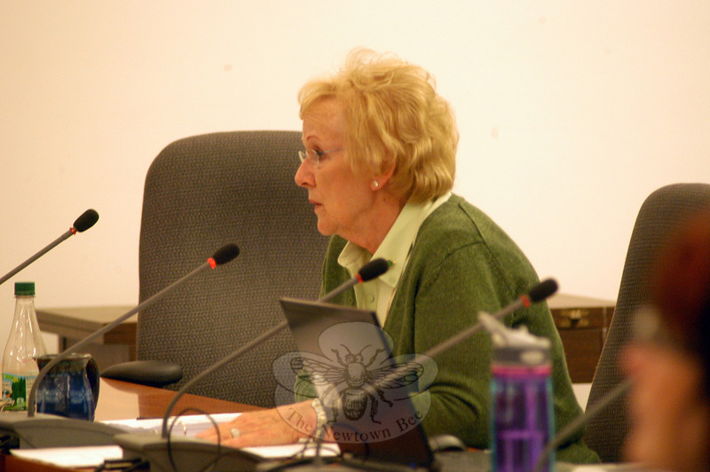 "First Selectman Pat Llodra delivered the Board of Selectmen's budget to the Board of Finance during a meeting held on Thursday, February 23.   (Hallabeck photo)<br /> <br /> Read more here:<br /> Llodra Delivers Selectmen Budget To Finance Board <br />  <a href=""http://newtownbee.com/News/2012-03-01__13-15-29"">http://newtownbee.com/News/2012-03-01__13-15-29</a>"