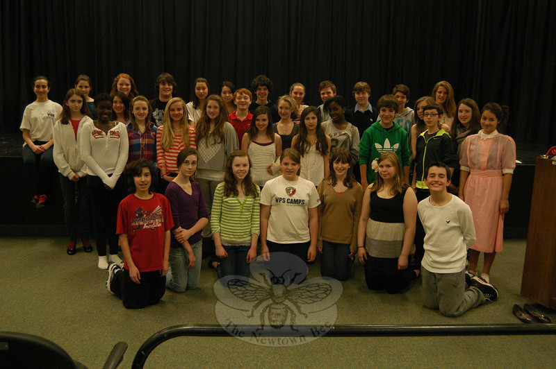 """Cast of the Newtown Middle School's upcoming production of Bye Bye Birdie stood together on Tuesday, February 28.  (Hallabeck photo)<br /> <br /> Read more here:<br /> NMS To Stage """"Bye Bye Birdie""""<br />  <a href=""""http://newtownbee.com/2012-03-01__14-39-32"""">http://newtownbee.com/2012-03-01__14-39-32</a>"""