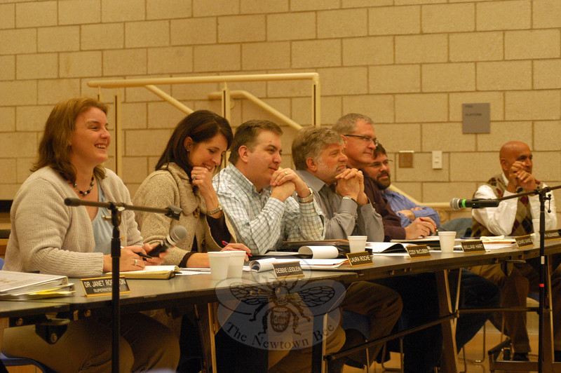 "The Board of Education, from left, Chair Debbie Leidlein, Vice Chair Laura Roche, Secretary Cody McCubbin, and members William Hart, Richard Gaines, Keith Alexander, and John Vouros at the February 28 Coffee & Dessert With the Board event.  (Hallabeck photo)<br /> <br /> Read more here:<br /> Concerns Raised At Coffee & Dessert With The Board<br />  <a href=""http://newtownbee.com/2012-03-01__13-21-44"">http://newtownbee.com/2012-03-01__13-21-44</a>"