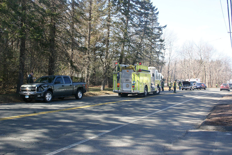 About 2:10 pm on March 11, motorist Rita Millo, 69, of 301 South Main Street, who was driving a 1997 Oldsmobile Cutlass sedan, stopped on southbound South Main Street and was waiting to make a left turn into the driveway leading to her residence, police said. Southbound motorist Peter Nagy, 52, of 21 Scudder Road, who was driving a 2011 Chevrolet Silverado pickup truck, then struck the rear end of the Oldsmobile, after which the Chevrolet went off the right road shoulder and struck a tree. There were no injuries. Botsford firefighters and ambulance volunteers responded to the incident. Police said Nagy received an infraction on charges of  failure to drive a reasonable distance apart, making a restricted turn, and distracted driving.                 —Bee Photo, Hicks